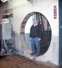 Gordy in a hole we sawed